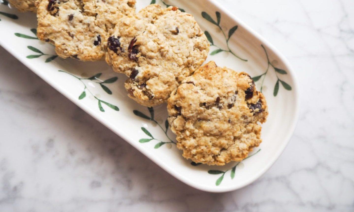 Oat and cranberry cookies.