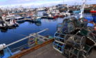 Moored fishing boats in Fraserburgh Harbour during lockdown.