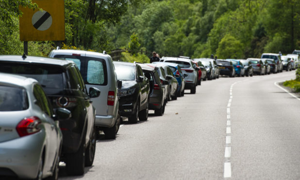 Parked cars in Arrochar on Saturday during the ongoing coronavirus pandemic.