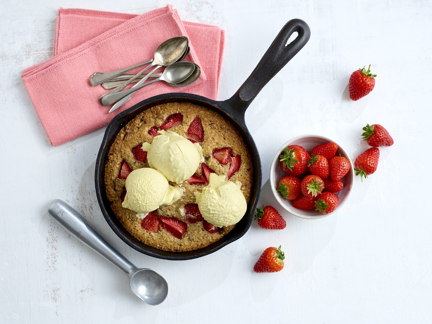 Giant strawberry chocolate chip cookie.