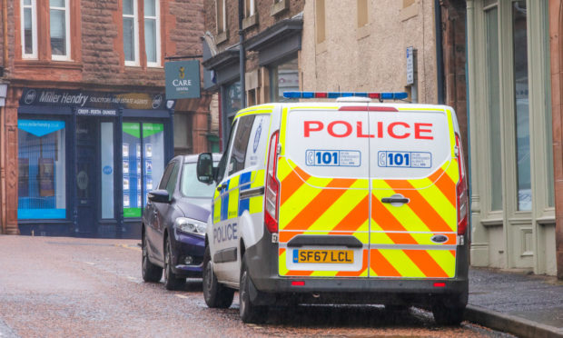 Police on Comrie Street, Crieff.