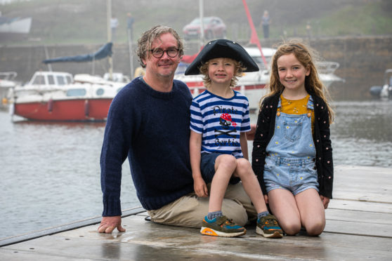 Bertie the Pirate creator Steve Blair with his sailing mad children Cicely and Bertie.