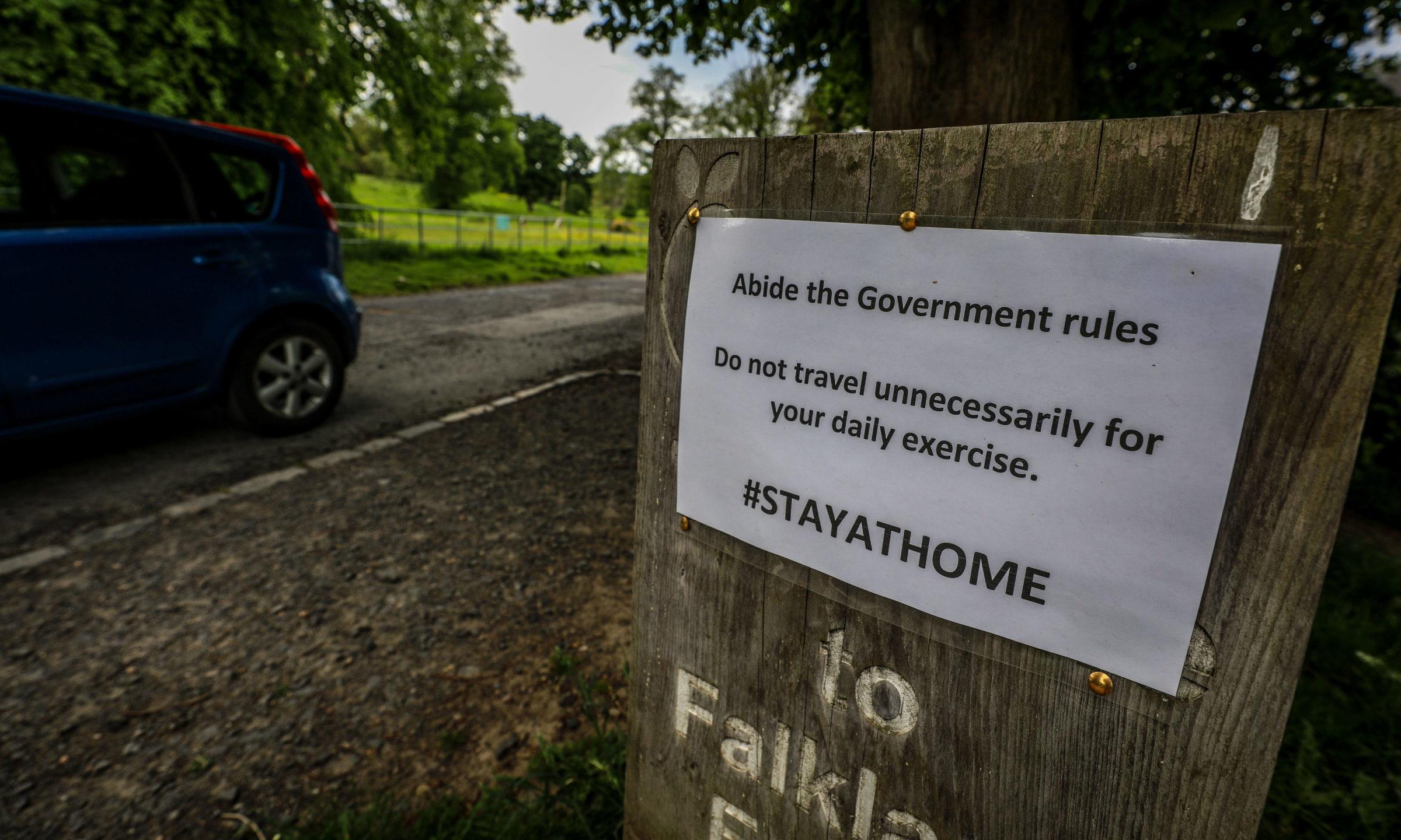 Warning signs at the Falkland Estate.