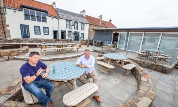 Manager Ross Myddleton and owner Graham Bucknall in the beer garden of The Ship Inn, Elie.