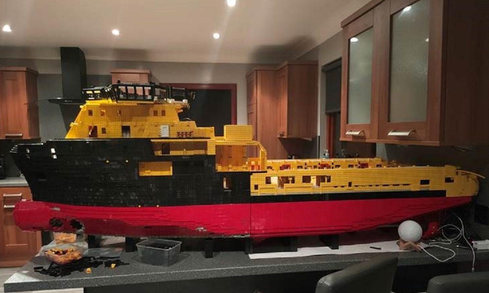 The seven-foot model ship has taken over Jim McDonough's kitchen worktop.