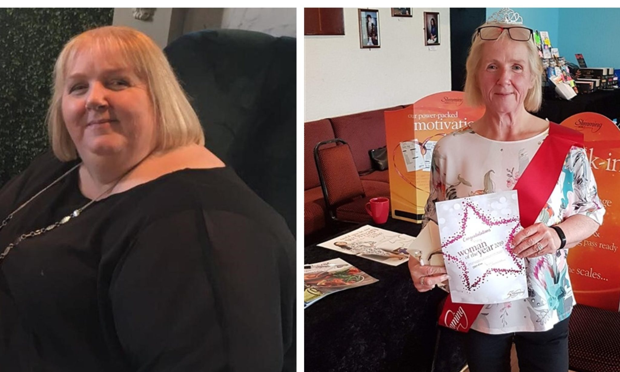 A before and after picture showing how Tracy has managed to turn her life around.