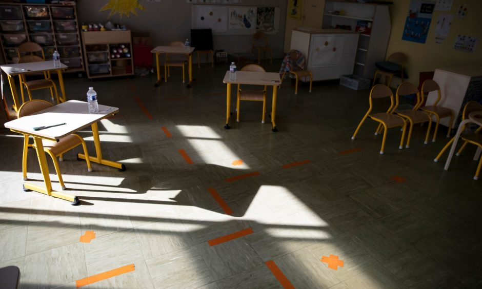 Classrooms are being set up to maintain social distancing.