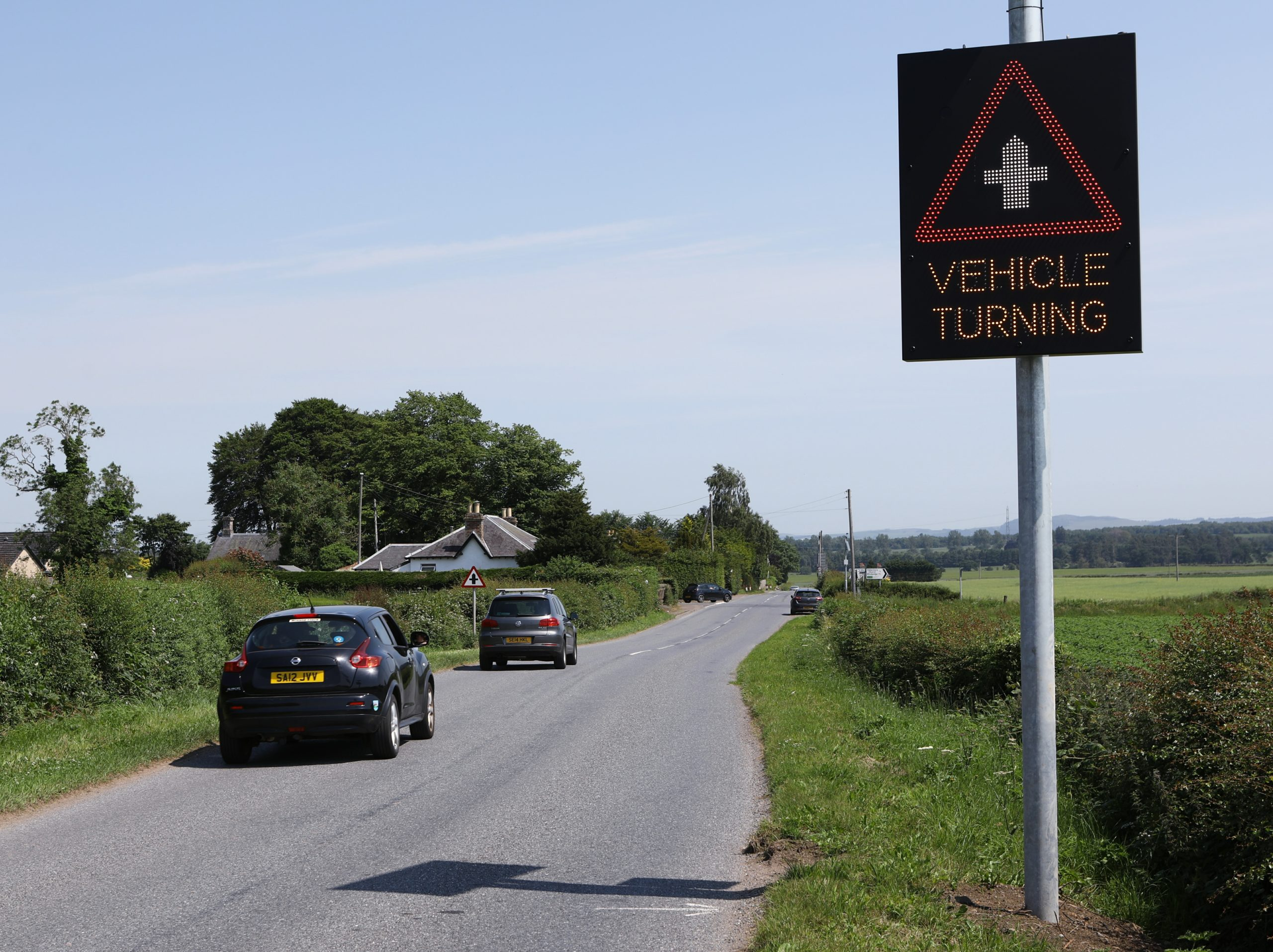 Vehicle Activated Signs (VAS) have been installed at an accident blackspot. Picture: Dougie Nicolson.