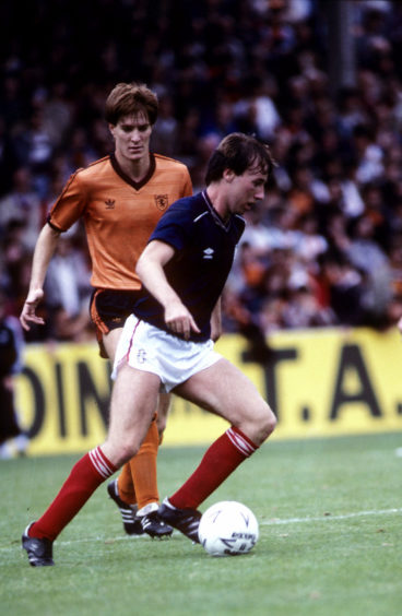 Richard Gough up against Ray Stephen