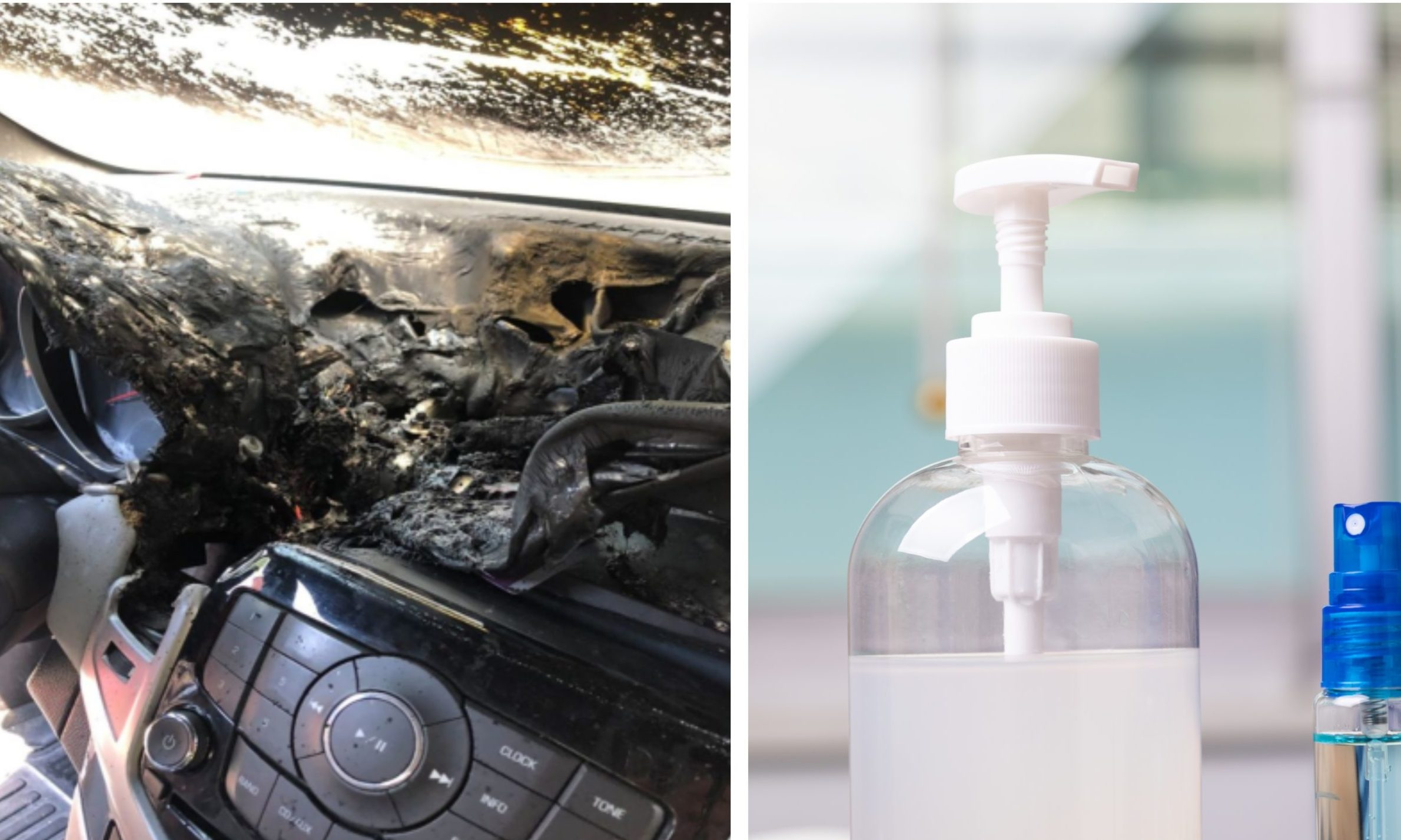 A warning has been issued about leaving hand gel bottles in cars.