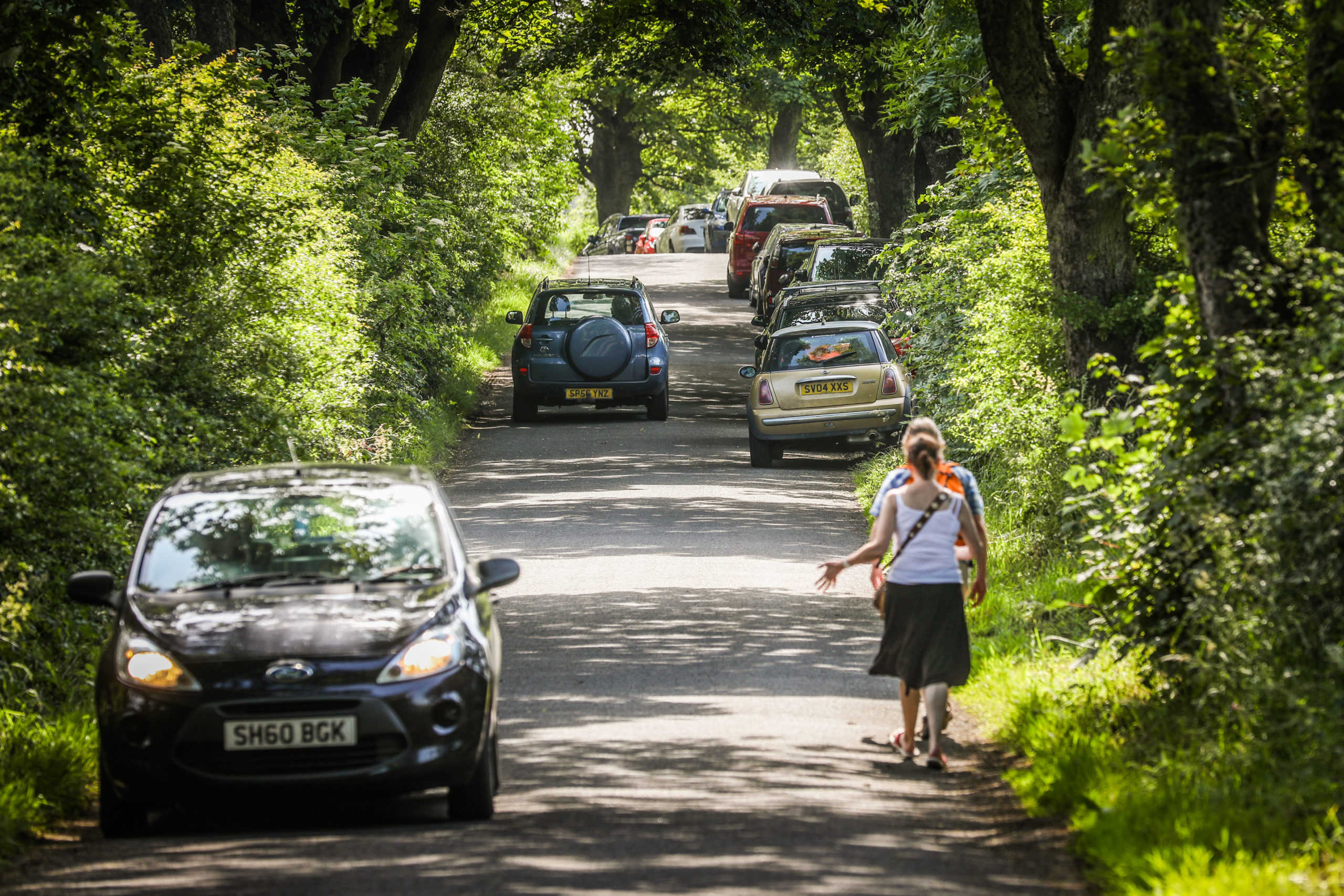 Narrow roads leading to Lunan Bay have been clogged with traffic during lockdown.