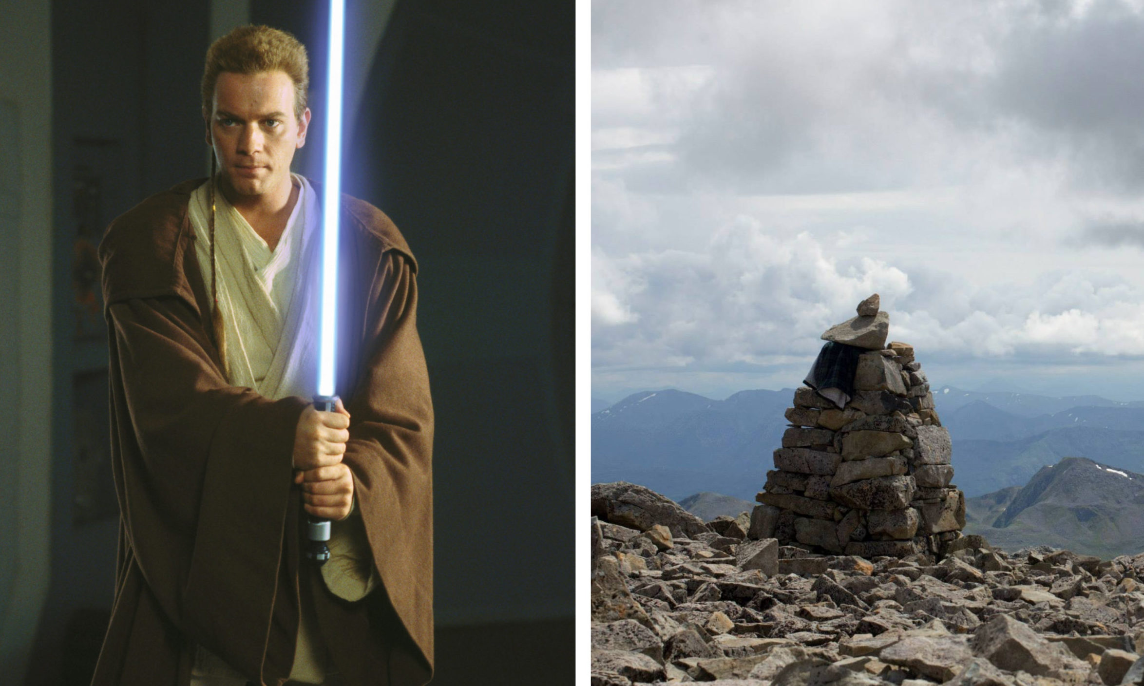 Ewan McGregor as Obi Wan Kenobi/A cairn at the top of Ben Nevis.