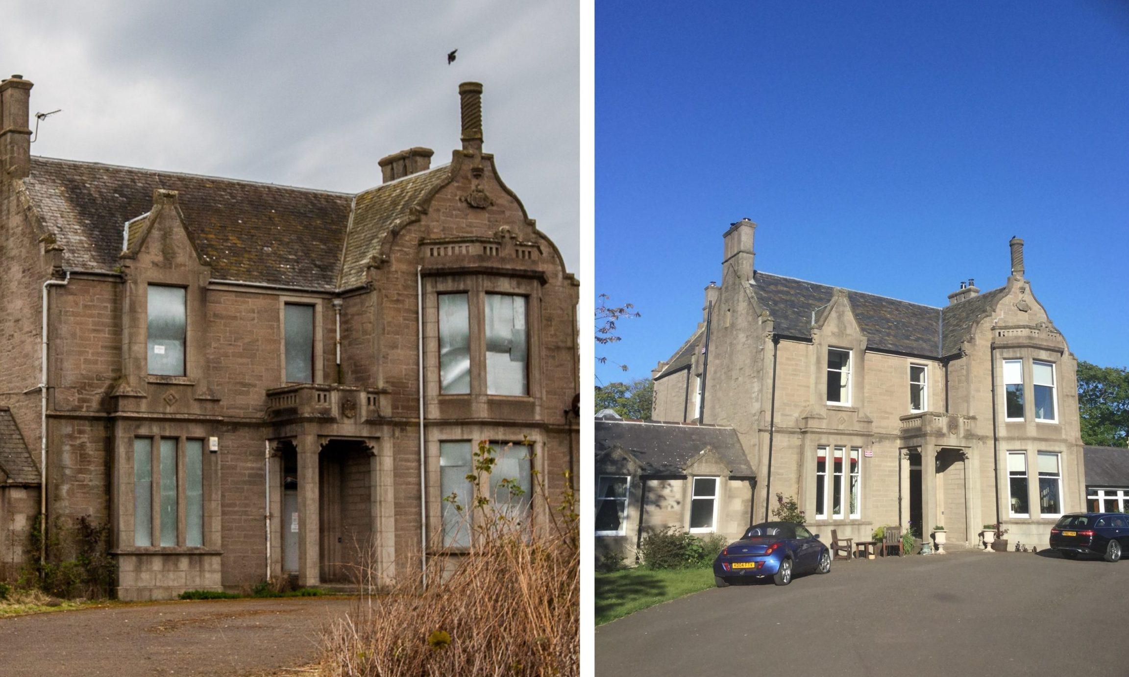 Panbride House in 2017 (left) and 2020 (right).