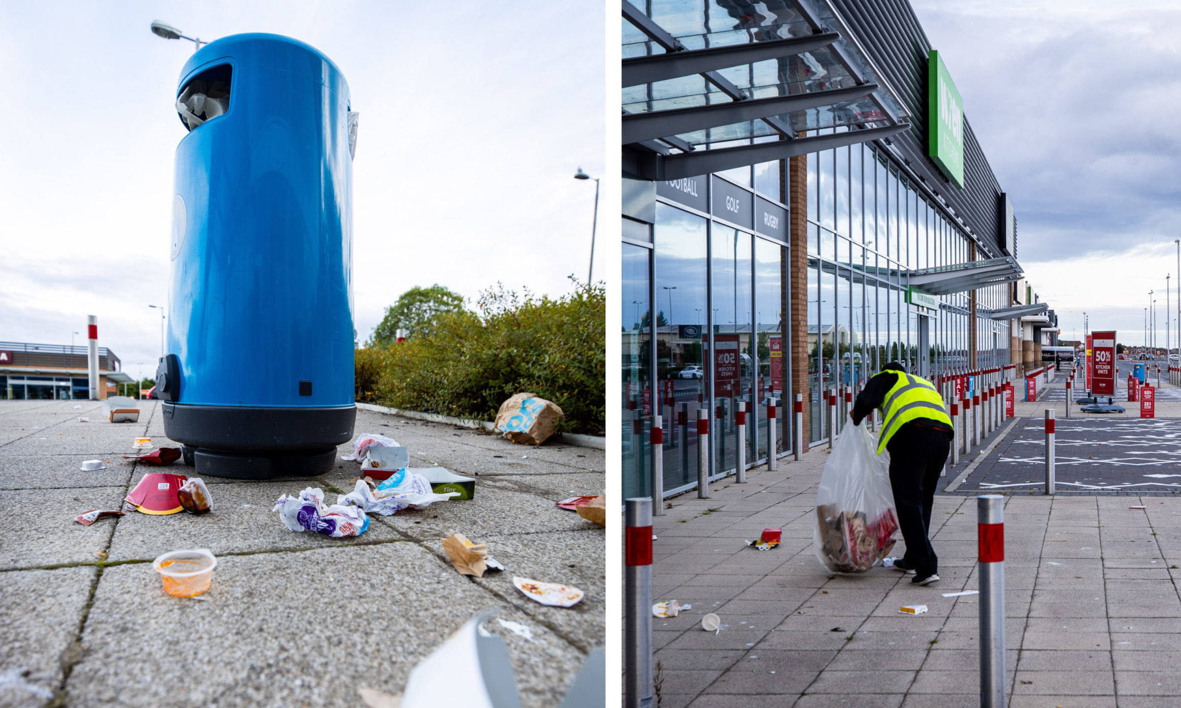 Rubbish bins were overflowing after the McDonald's reopened at Kirkcaldy Retail Park.