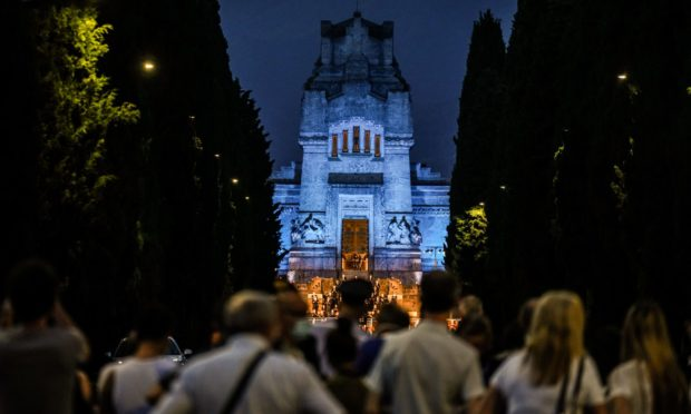 Mandatory Credit: Photo by Nicola Marfisi/AGF/Shutterstock (10695372ar) Concert for the victims of Covid-19 at the monumental cemetery in Bergamo Commemoration concert of the victims of Covid-19 at the monumental cemetery of Bergamo, Italy - 28 Jun 2020
