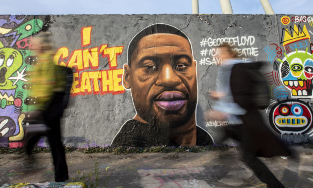 A mural of George Floyd at Mauerpark in Berlin, Germany.