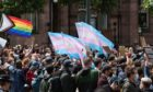 Trans rights advocates gather in St Peter's Square in Manchester.