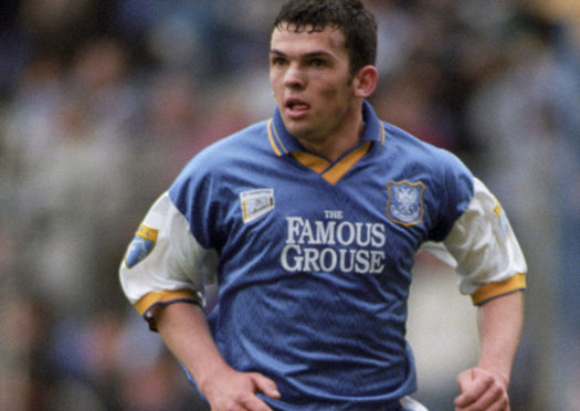 A young Callum Davidson in his first spell with St Johnstone.