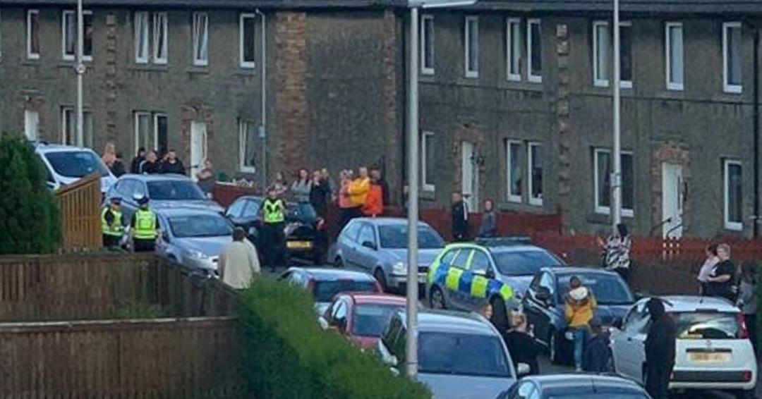 The scene in Blamey Crescent last Wednesday.