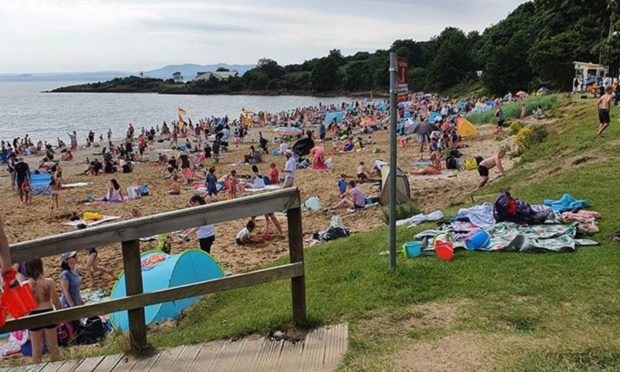 The warmer weather encouraged more people out on to the beaches, like Aberdour Silver Sands.