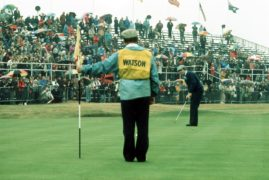 Watson wins at Carnoustie in 1975.