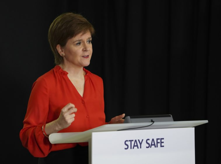 Nicola Sturgeon addressed exam results at her daily briefing in Edinburgh.