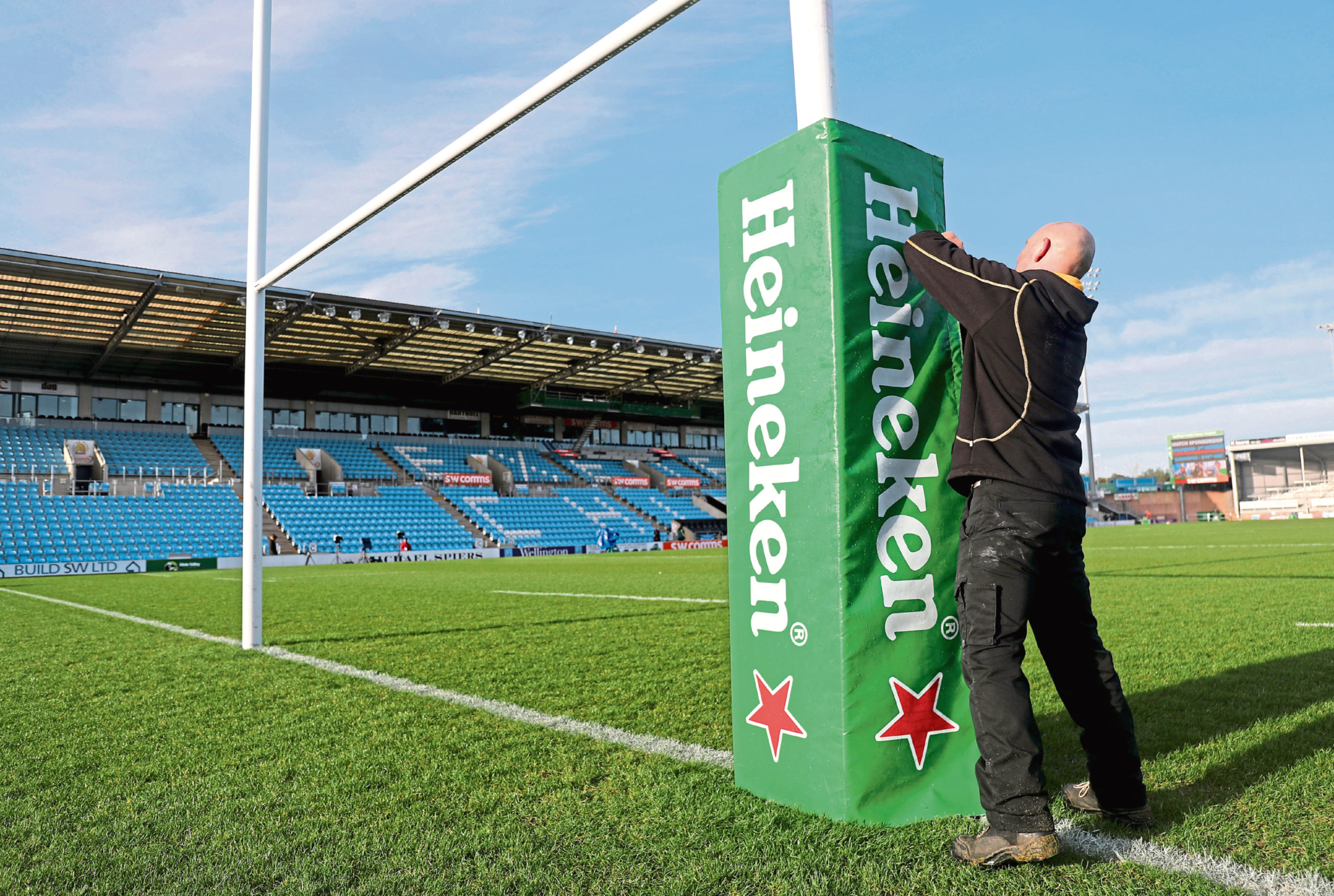 Mandatory Credit: Photo by Dan Sheridan/INPHO/Shutterstock (10529575l) Exeter Chiefs vs La Rochelle. Staff prepare the pitch at Sandy Park ahead of the game Heineken Champions Cup Round 6, Sandy Park, Exeter, England, UK - 18 Jan 2020
