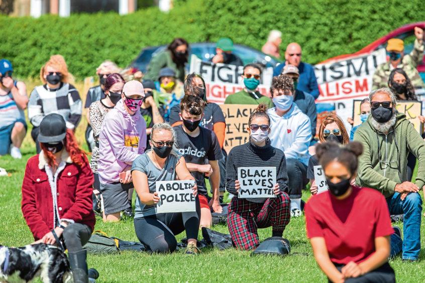 Black Lives Matter protesters at Magdalen Green, Dundee.
