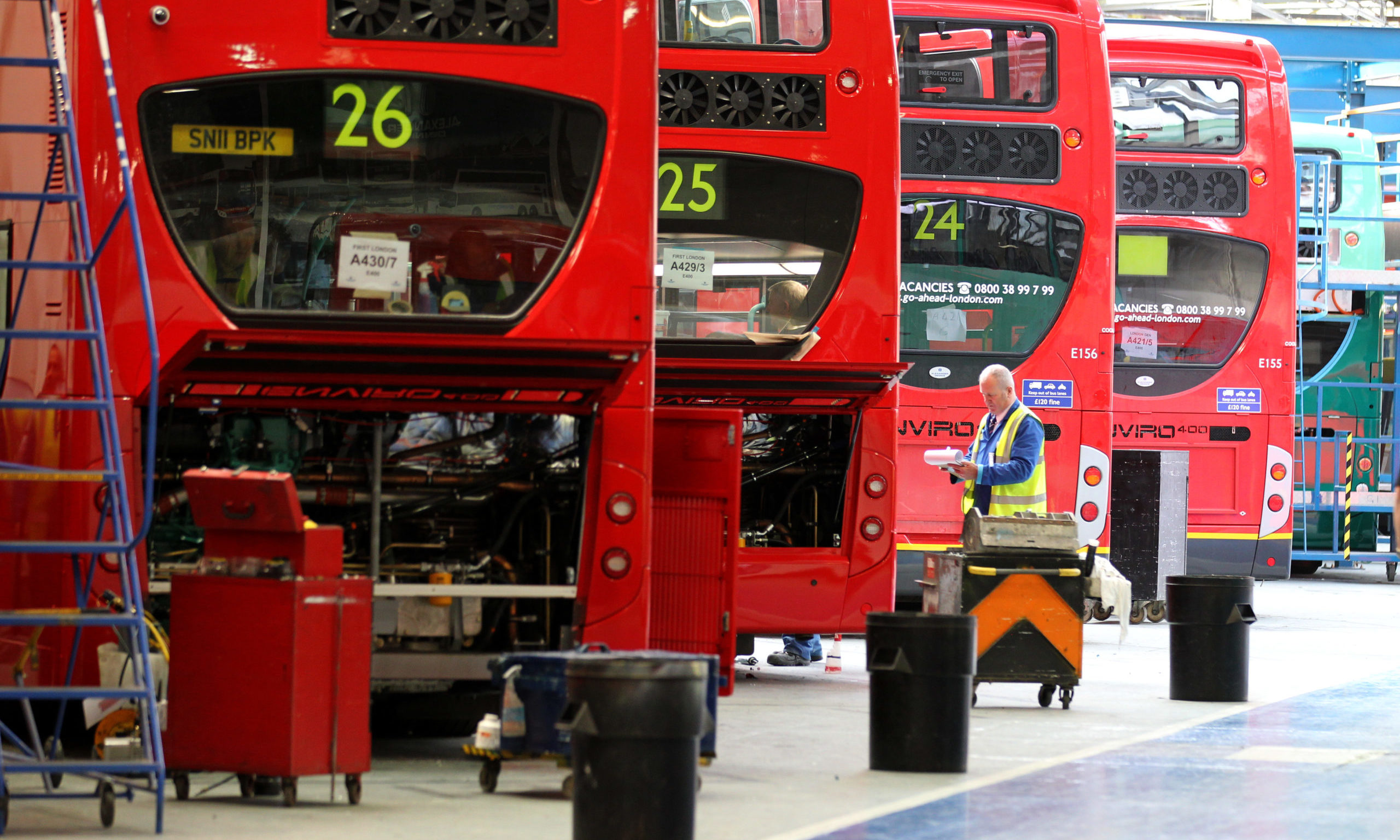 Pictured is the factory floor of  Alexander Dennis bus builders  in Falkirk         PRESS  ASSOCIATION Photo. Picture date,   Thursday 7th  April    2011  Photo credit should read:   PA/ Andrew Milligan