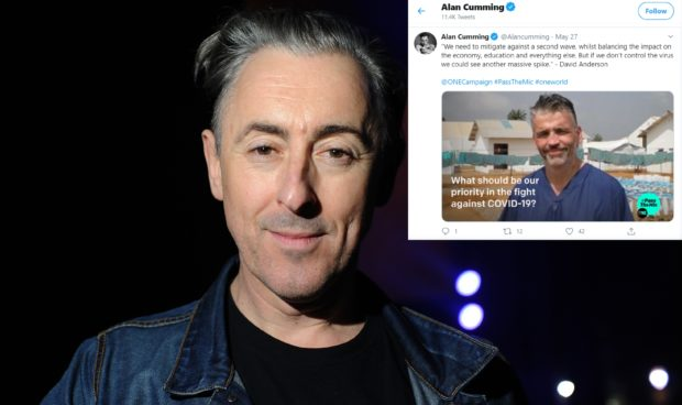 Actor Alan Cumming and, inset, David Anderson's Tweets from his Twitter account
