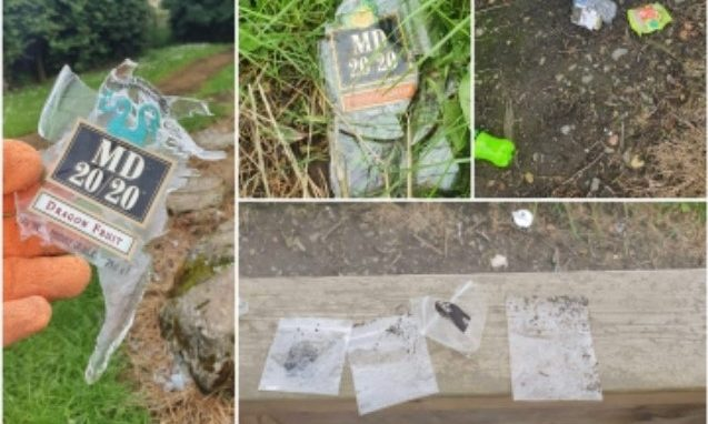 Alcohol bottles and drug pouches found at Auchtergavan Primary School.