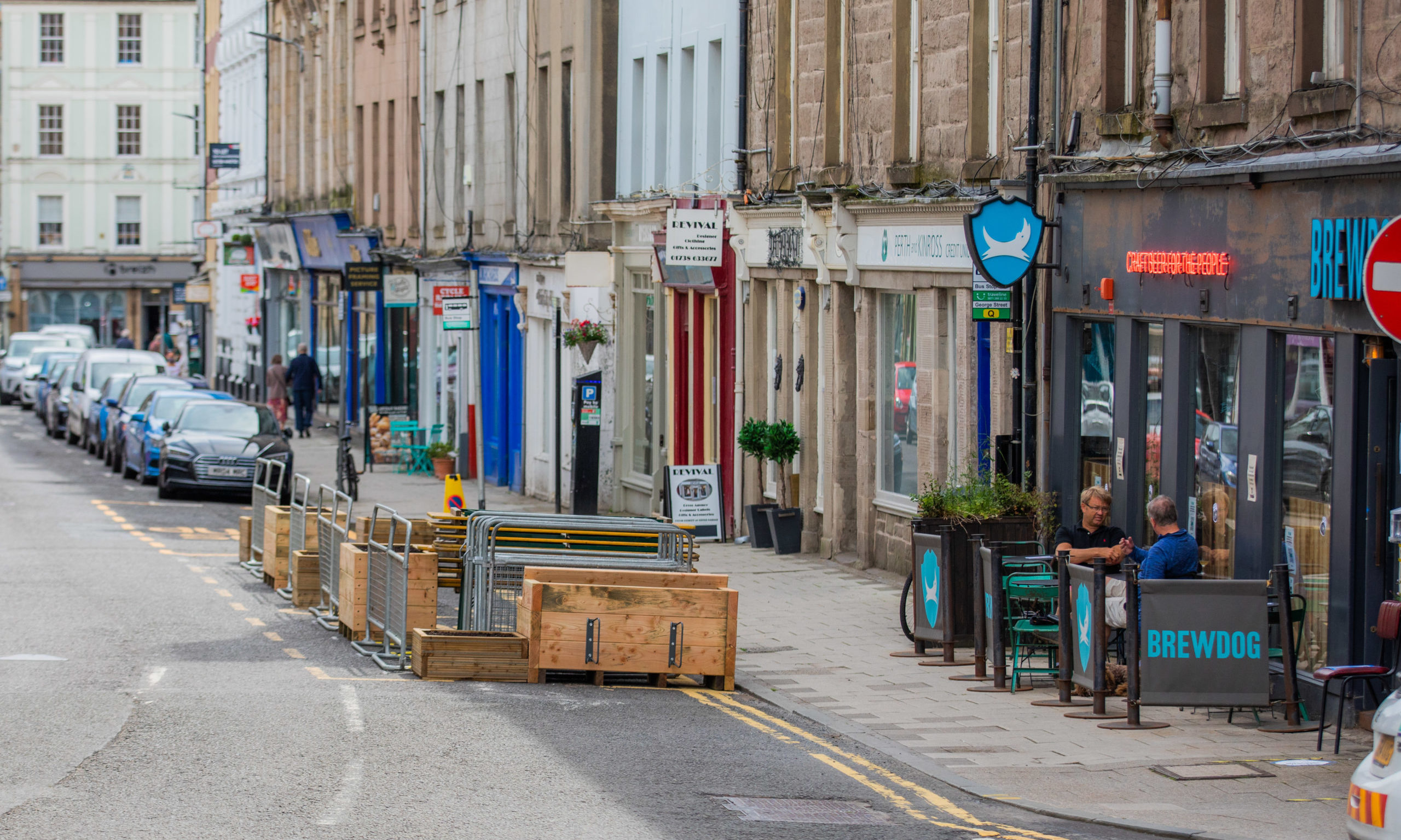 The parklet being set up outside BrewDog on George Street in Perth