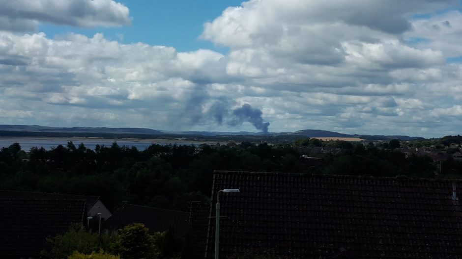 The fire viewed from Monifieth.