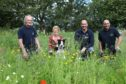 L/R,  Alan Davie - Owner of Alan Davie Transport, Jani Morton with Kodie the dog, Ian Davie and Euan Davie in the wildflower meadow