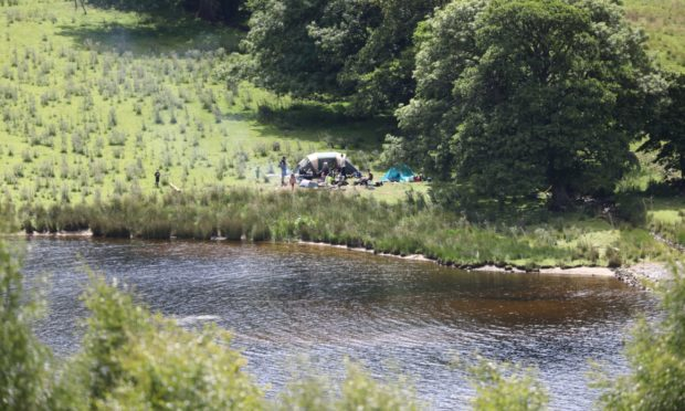 Wild campers at Loch Tummel on Sunday.