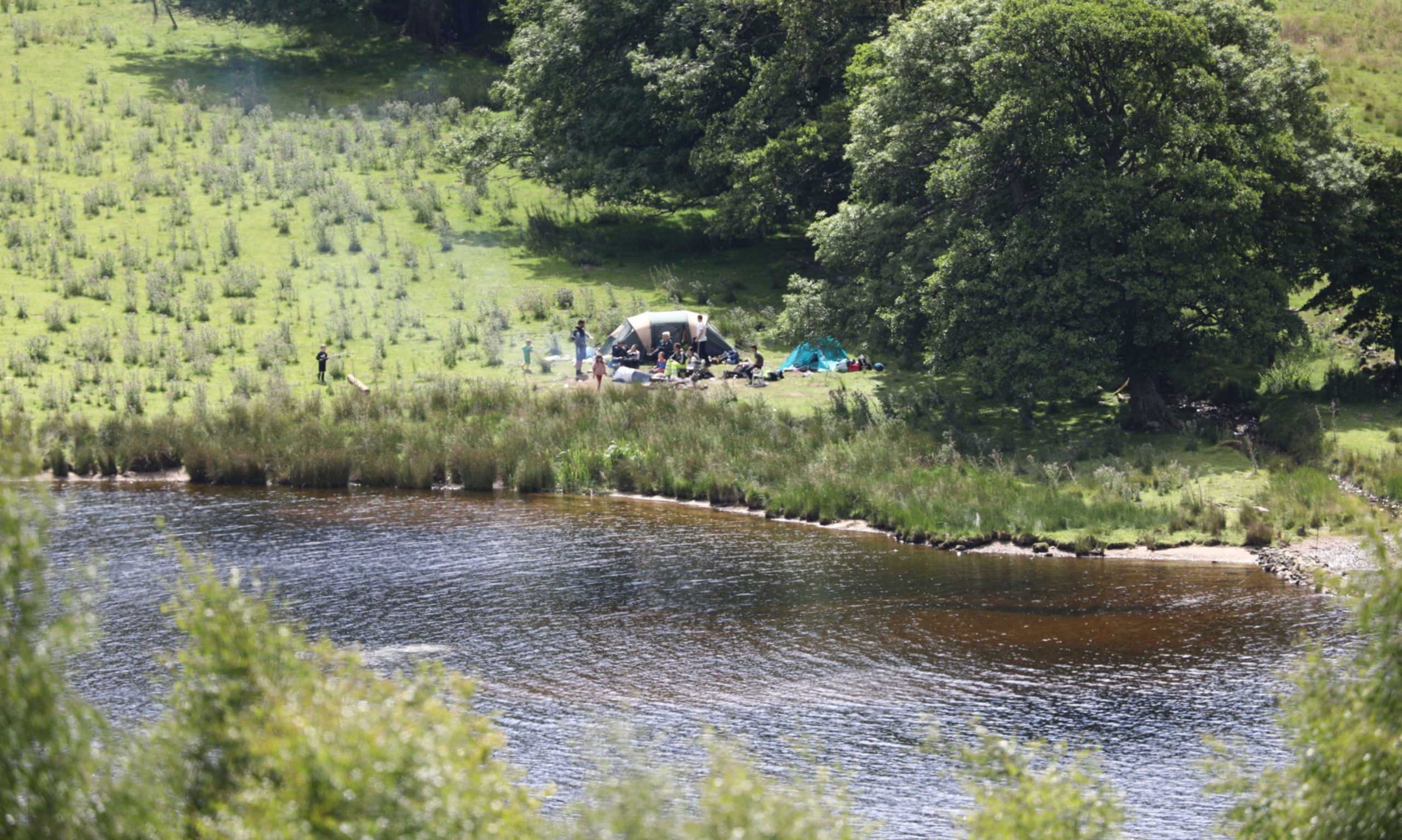 Wild campers at Loch Tummel on Sunday.