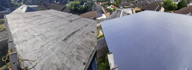 Before and after, a flat roof upgraded to modern pvc.