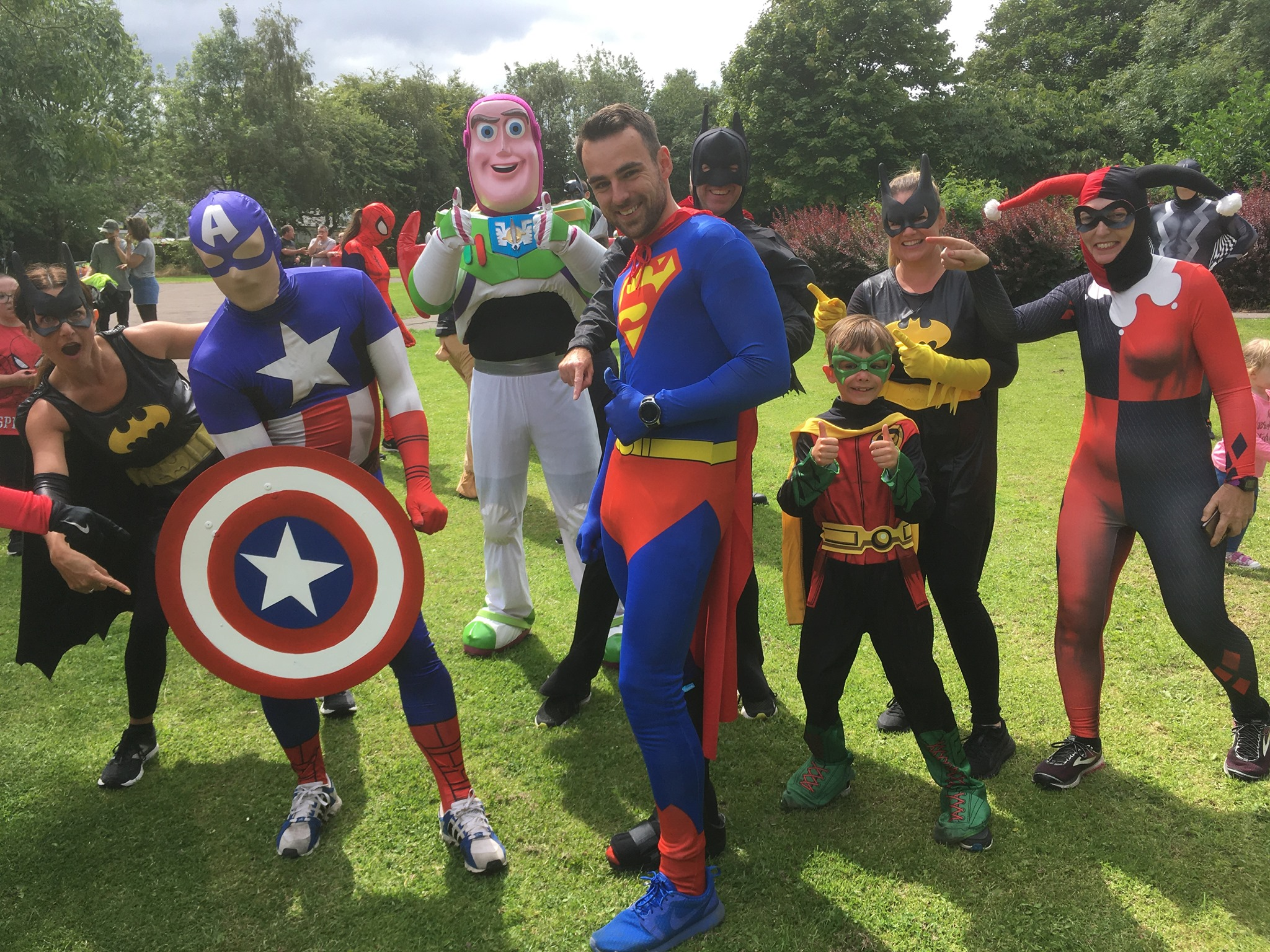 Broken bones didn't stop Captain America and Superman from making an appearance.