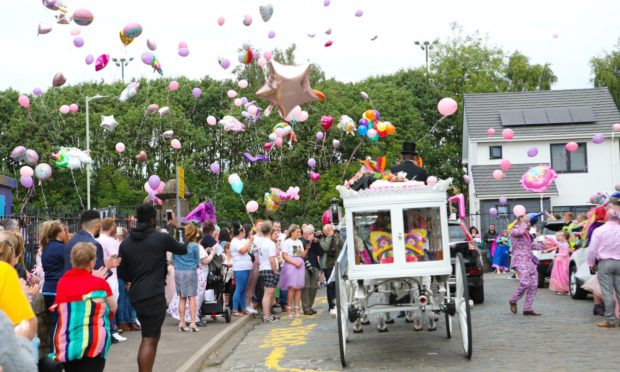 The scenes outside Clepington Primary school to celebrate the life of Freya Skene.
