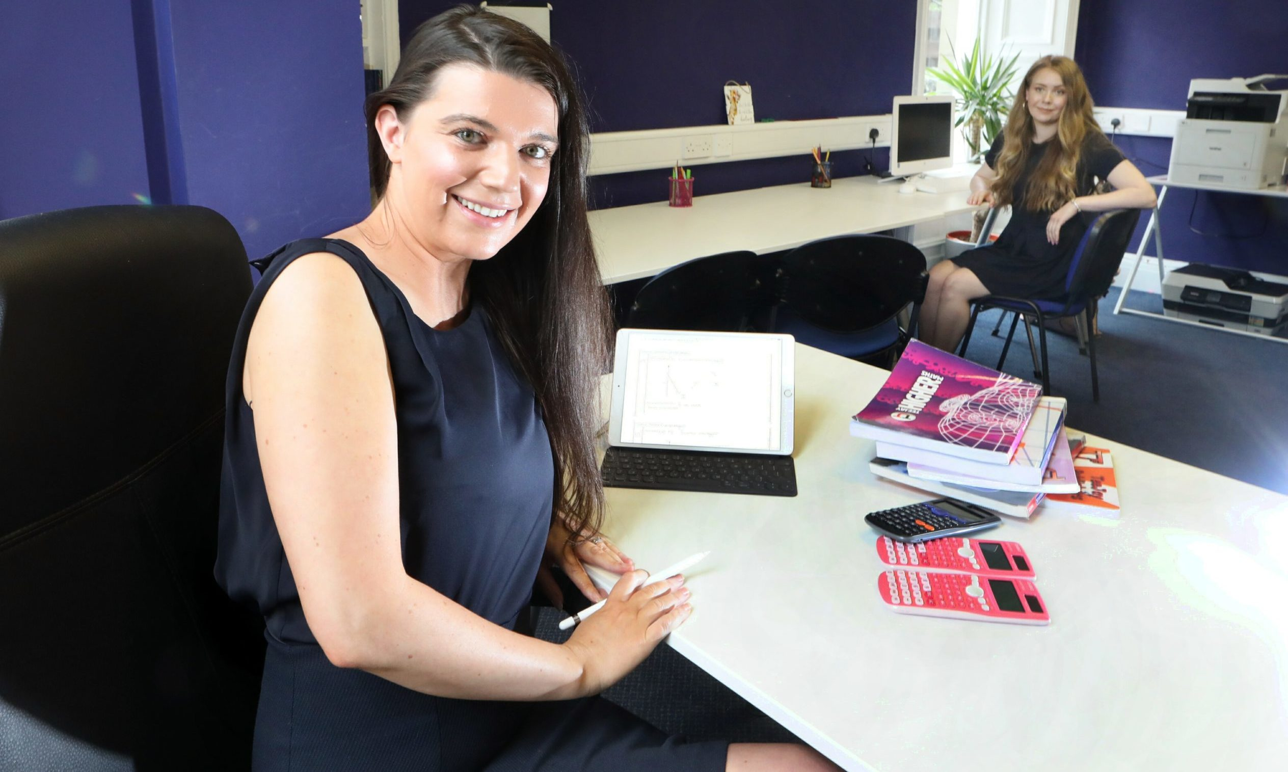 Lorraine Robertson with maths tutor Charlotte Chapman.