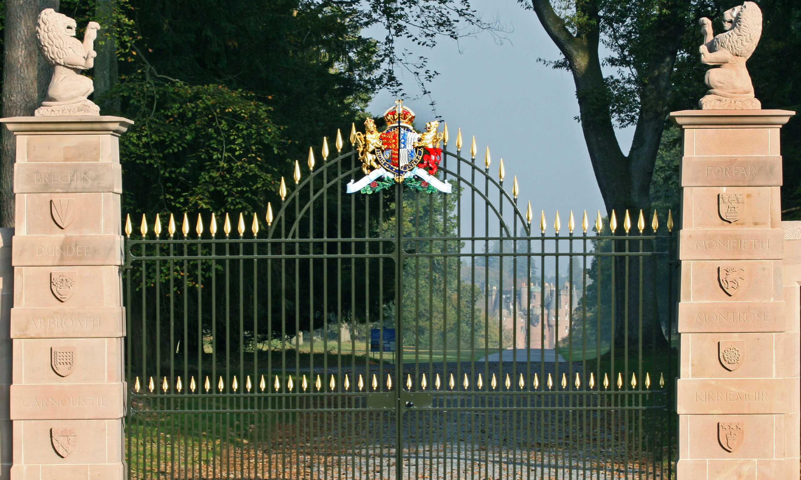 The Queen Mother Memorial gates at Glamis Castle.