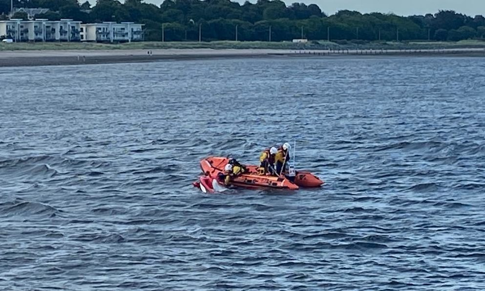 The inshore crew recover the jet ski from the incident near Broughty Castle.
