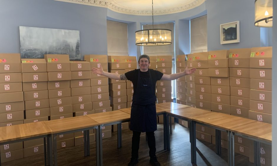 Chef Dean Banks with some of the Haar at Home deliveries