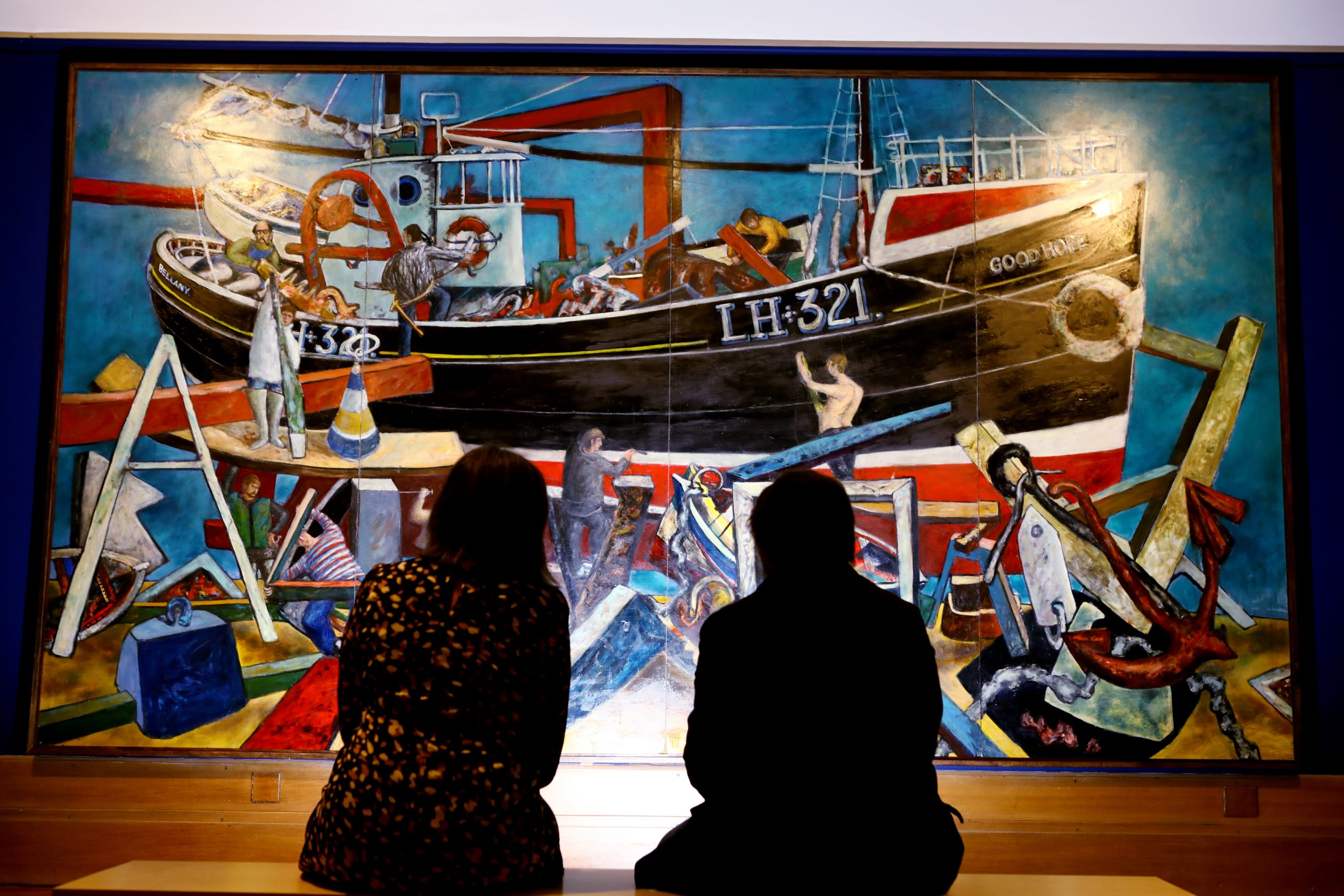 the painting 'The Boat Builders' by John Bellany, in the Icons II exhibition, at the Perth Museum & Art Gallery