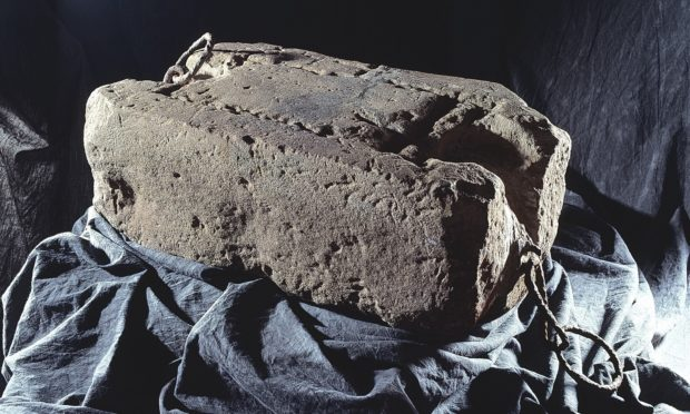 The Stone of Destiny, also known as the Stone of Scone.