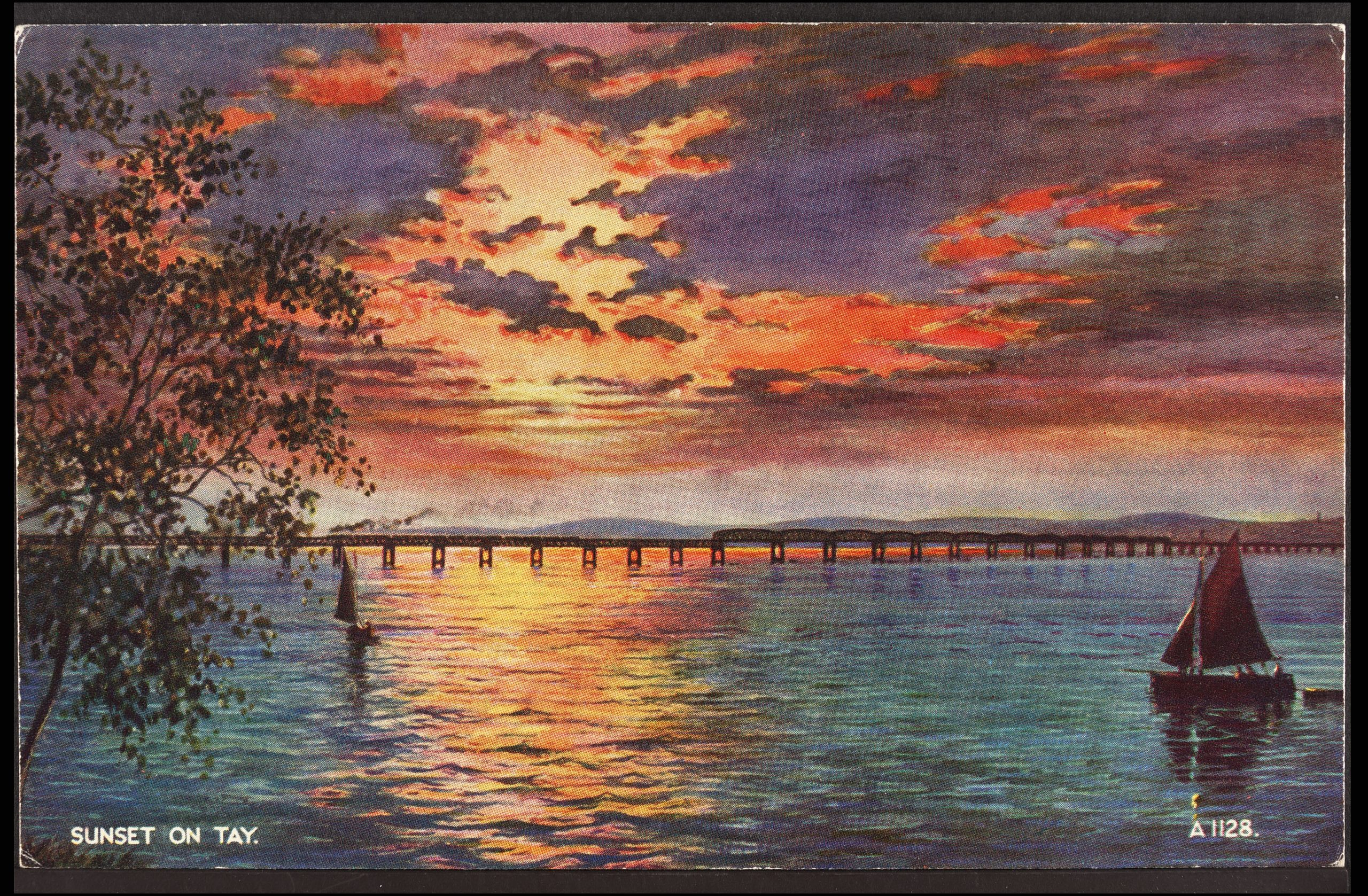 Sunset on the Tay, Dundee, 1940, Courtesy of the University of St Andrews Library: JV-Art-1128
