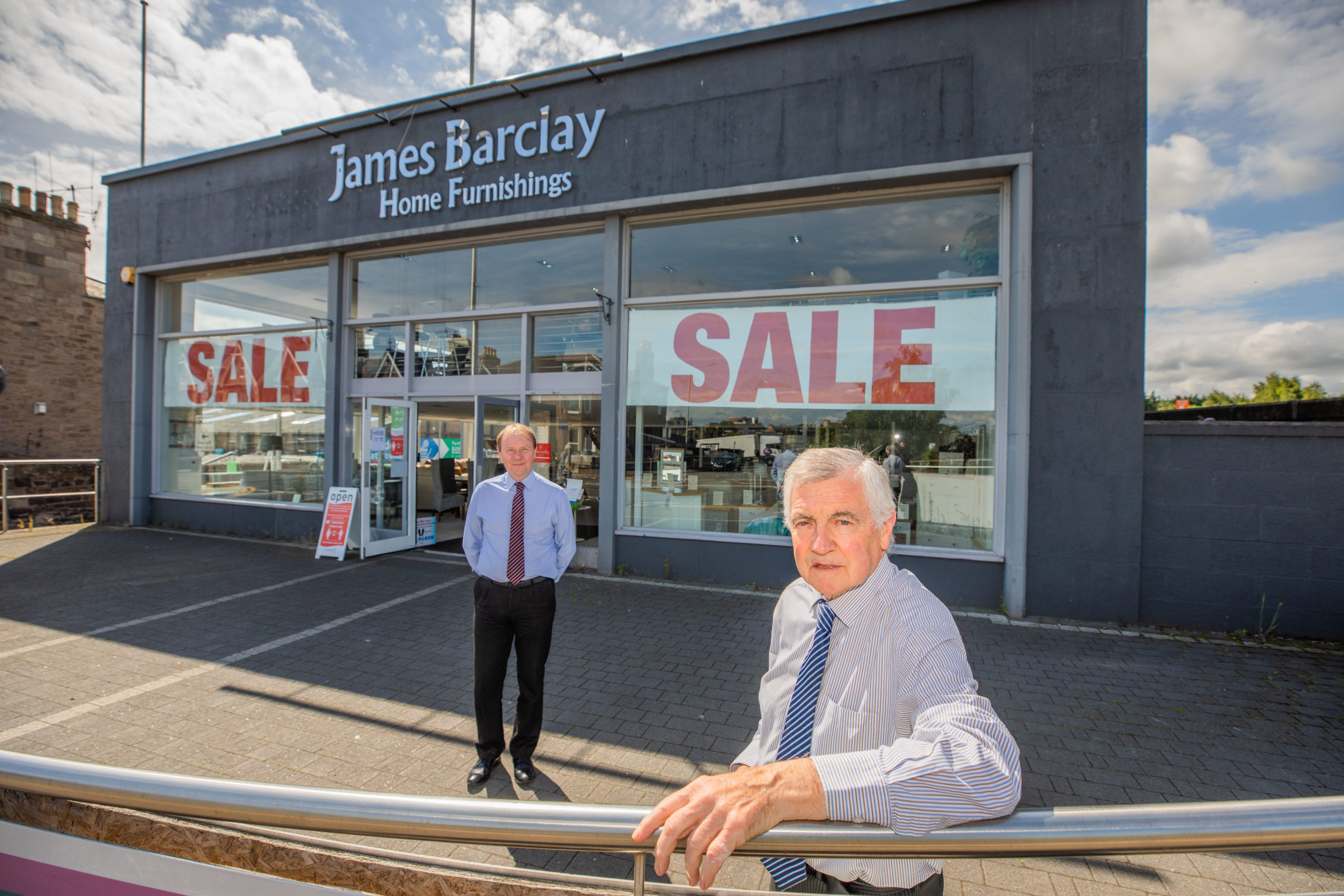 James Barclay (right) and manager John Hodge at James Barclay Home Furnishings, Perth.