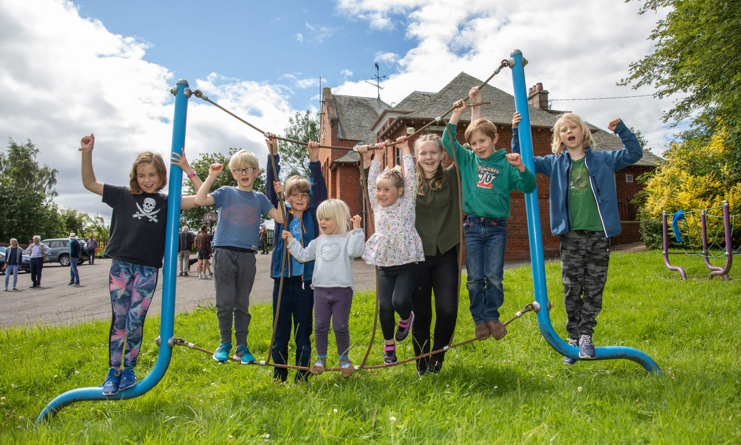Some of the children who gathered to celebrate the decision at Abernyte Primary School.