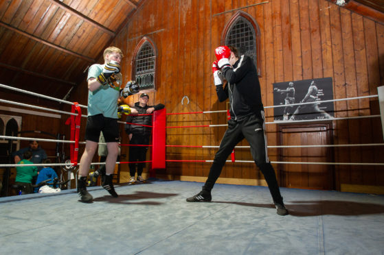 A sparring session at the Brechin club.