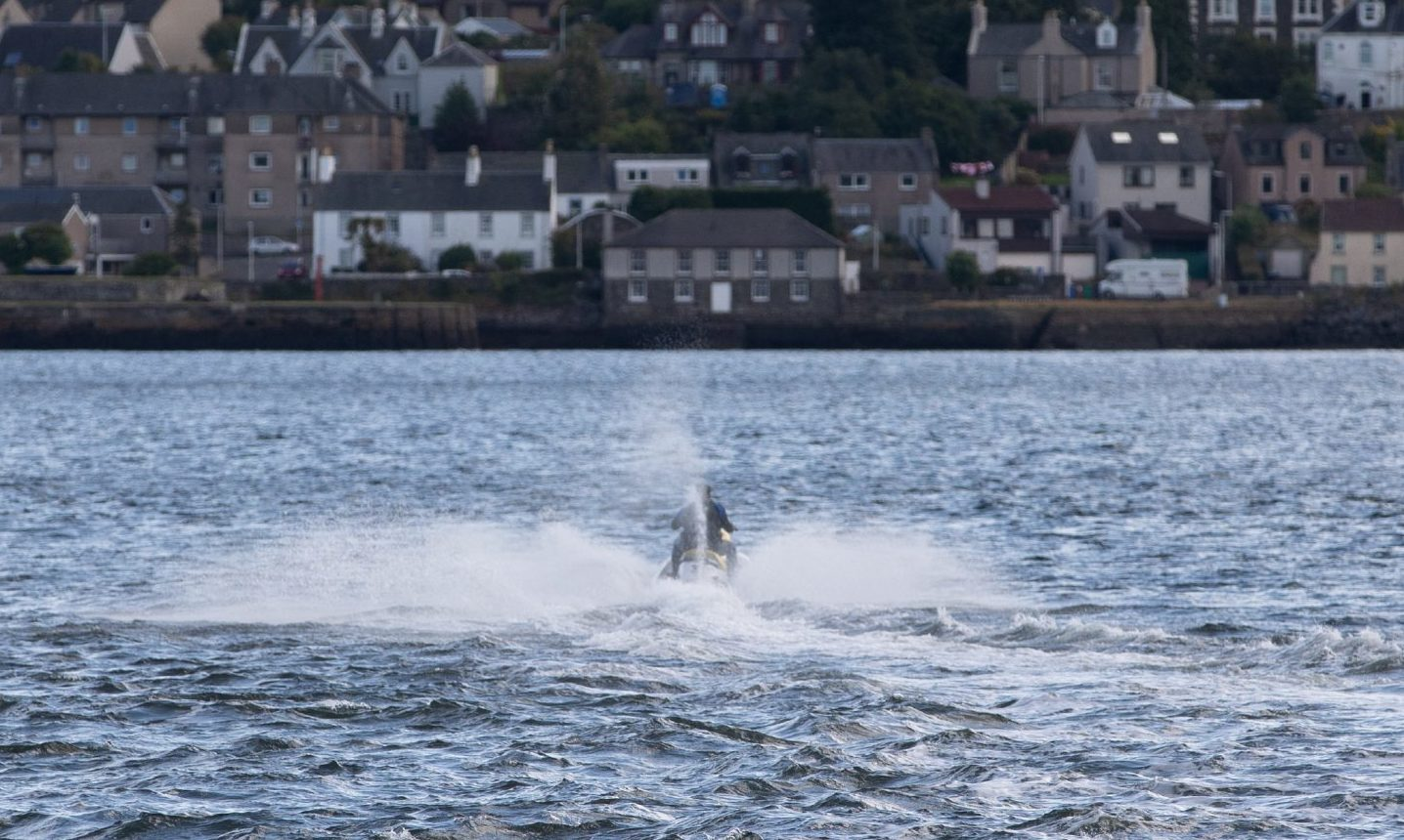 A jet-skier heading out from Broughty Ferry. There are complaints that some of the enthusiasts are ignoring rules around where they are allowed to operate their crafts.